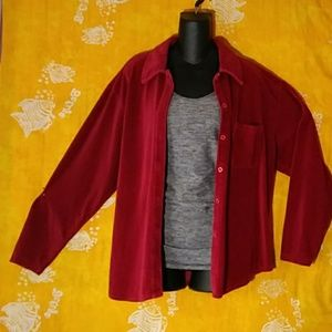 Vintage Erika Collection red velour corduroy shirt